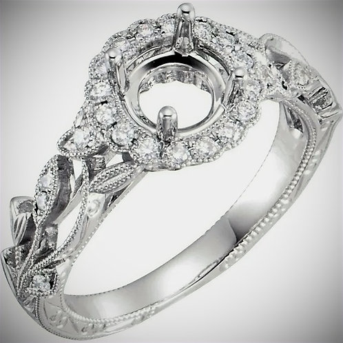 14KT White Gold Diamond Semi-Set Halo-Style Engagement Mounting
