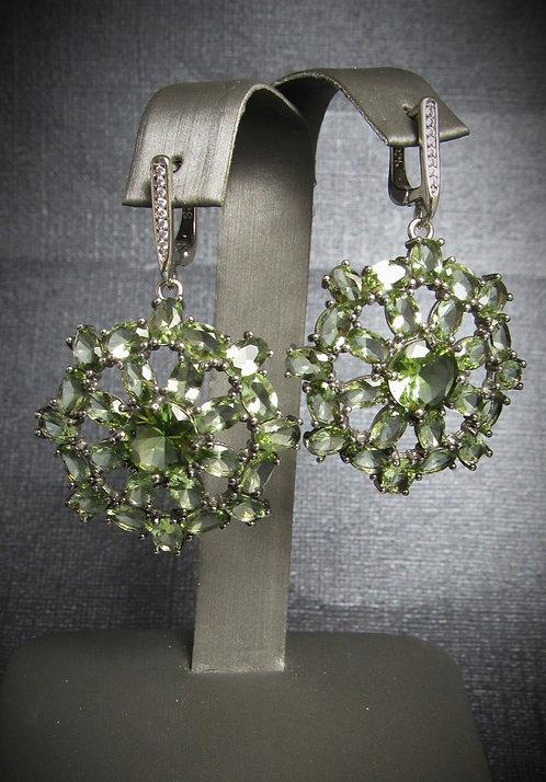Green Tourmaline & White Topaz Black Rhodium Plated Sterling Silver Earrings