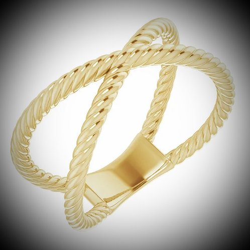 14KT Yellow Gold Rope Criss-Cross Ring