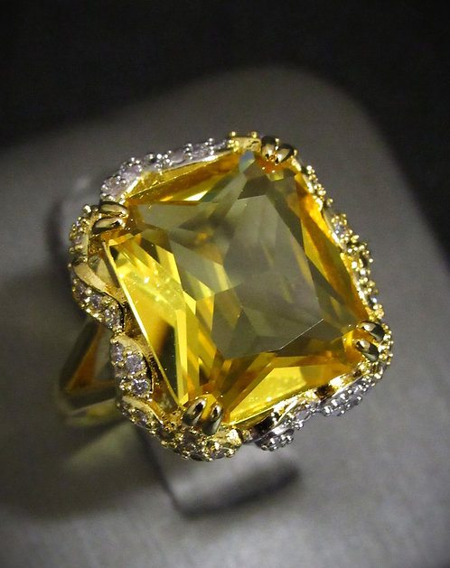 Yellow Cubic Zirconia & White Topaz 14KT Yellow Gold Plated Sterling Silver Ring