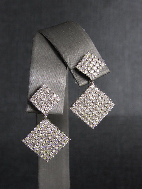 18KT white Gold Diamond Geometric Earrings