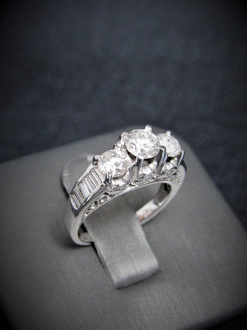 14KT White Gold Round Cut Diamond And Baguette Cut Channel-Set Engagement Ring