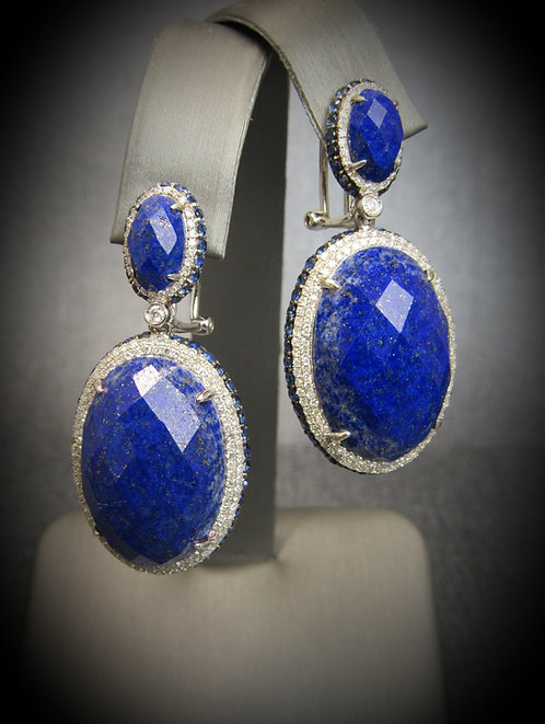 18KT White Gold Diamond Sapphire And Lapis Earrings