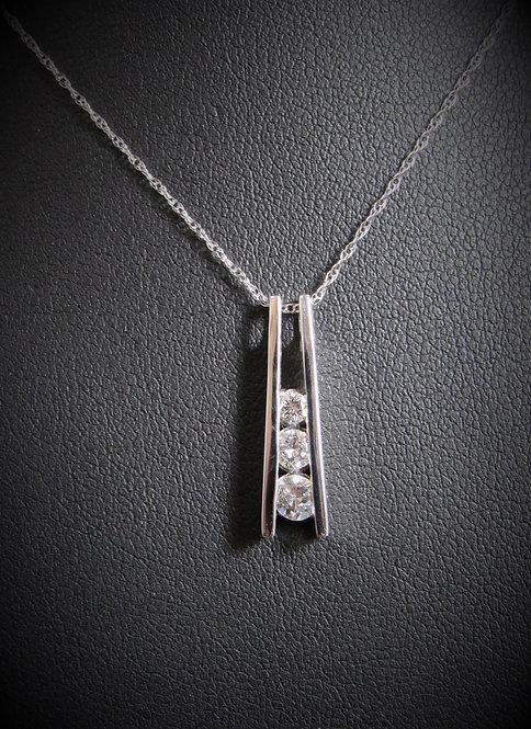 14KT White Gold Diamond Three-Stone Tension Style Pendant