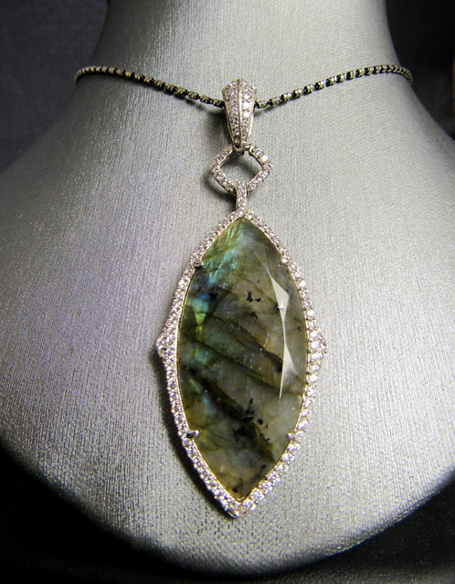 Labradorite & White Topaz 14KT Gold Plated Sterling Silver Necklace
