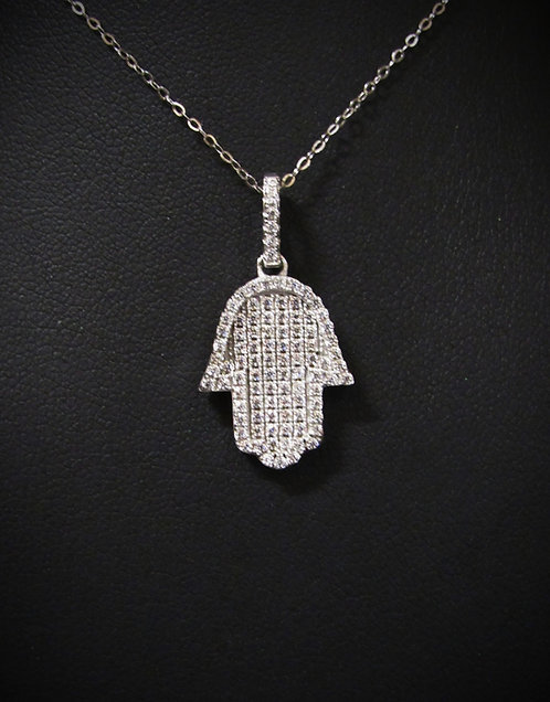 Sterling Silver Pavé Cubic Zirconia Hamsa Necklace