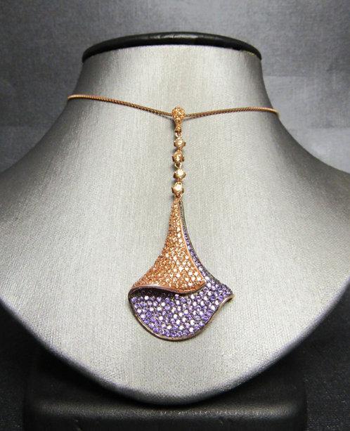 Amethyst & Smoky Topaz 14 KT Rose Gold Plated Sterling Silver Necklace