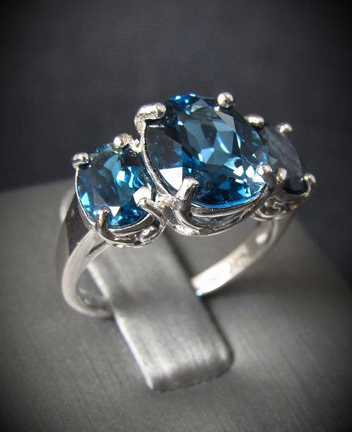Three Stone London Blue Topaz Sterling Silver Ring