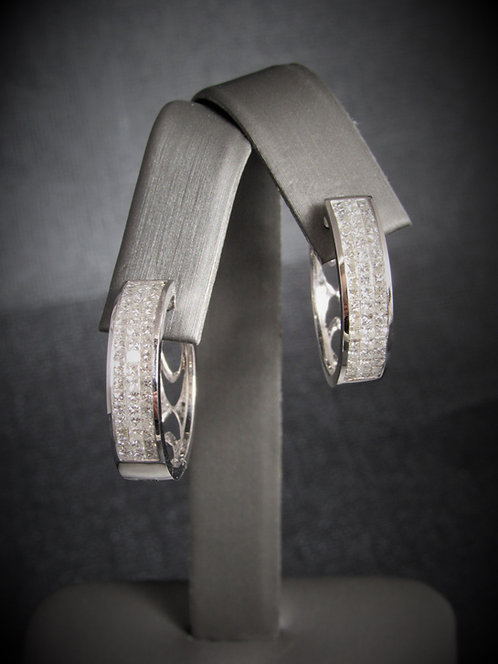 14KT White Gold Diamond Invisible Set Hoop Earrings