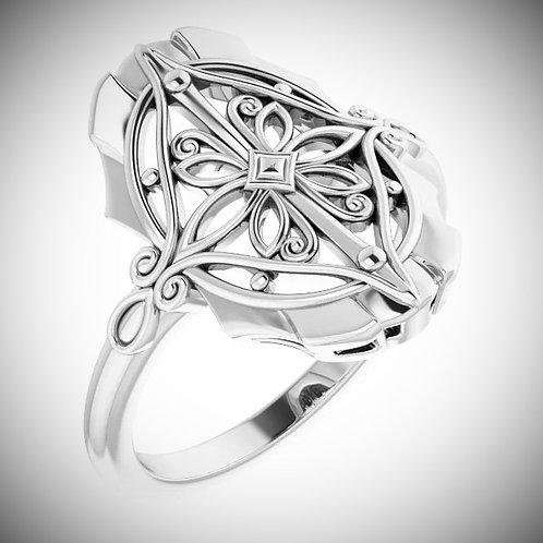 14KT White Gold Vintage-Inspired Filigree Ring