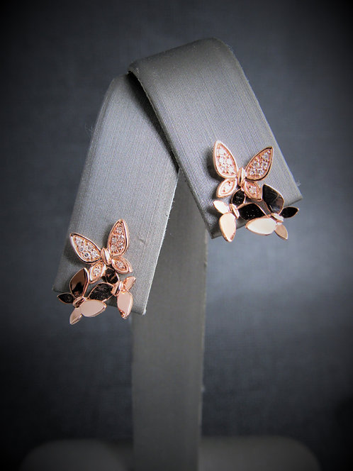 14KT Rose Gold Diamond Butterfly Stud Earrings