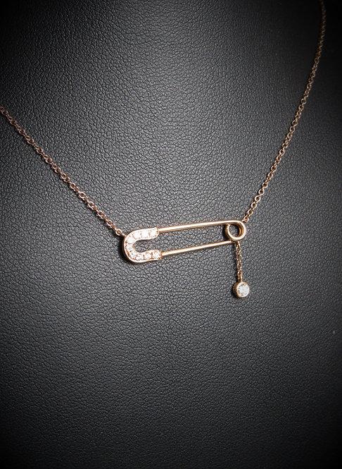 14KT Rose Gold Diamond Safety Pin Necklace