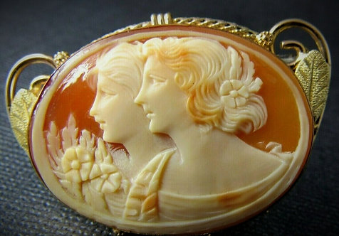 Edwardian 10KT Yellow Gold Coral Cameo Brooch Pin