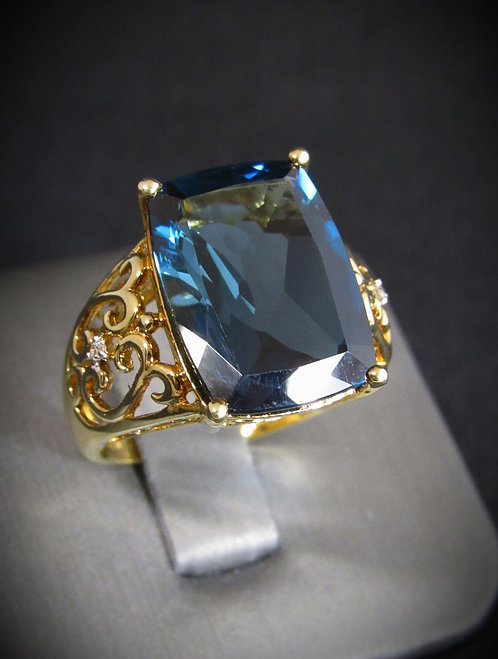 Square London Blue Topaz & Diamond Yellow Gold Plated Sterling Silver Ring