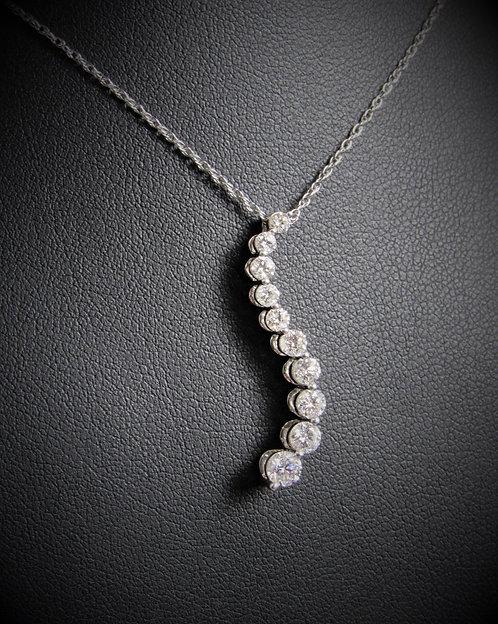 14KT White Gold Graduated Diamond Journey Pendant