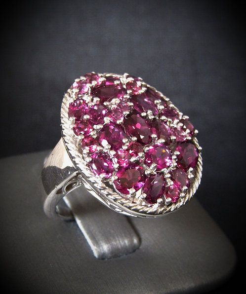 Large Oval Purple Tourmaline Sterling Silver Ring