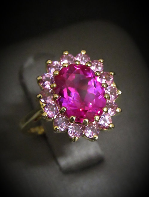 Oval Shape Pink Topaz 14KT Yellow Gold Plated Sterling Silver Ring