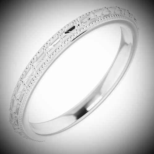 14KT White Gold Vintage Style Band