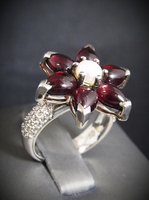 Rubalite, White Pearl, and White Topaz Flower Sterling Silver Ring