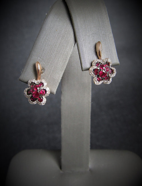 14KT Rose Gold Diamond And Ruby Flower Earrings