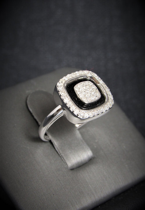 14KT White Gold Diamond And Black Onyx Square Ring
