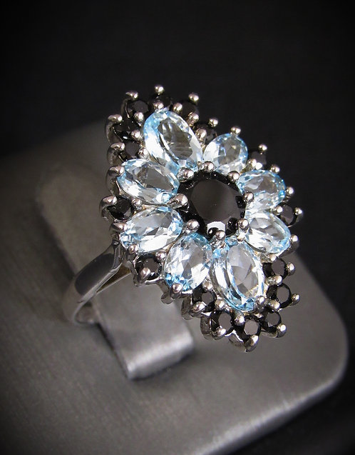Blue Topaz & Black Onyx 18KT Gold Plated Sterling Silver Ring