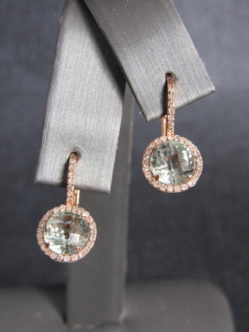 14KT Rose Gold Diamond And Green Amethyst Earrings