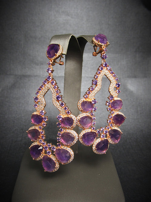 Amethyst & White Topaz 14 KT Rose Gold Plated Sterling Silver Earrings