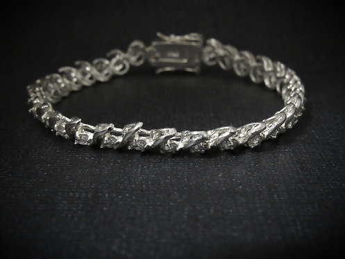 Swirl White Topaz Sterling Silver Bracelet
