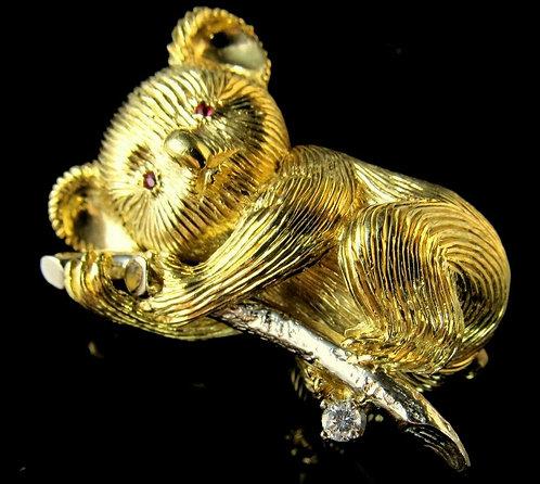 18KT Yellow And White Gold Diamond And Ruby Koala Bear Antique Pin