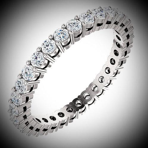 14KT White Gold Prong Style 3.5mm Round Diamonds Eternity Band