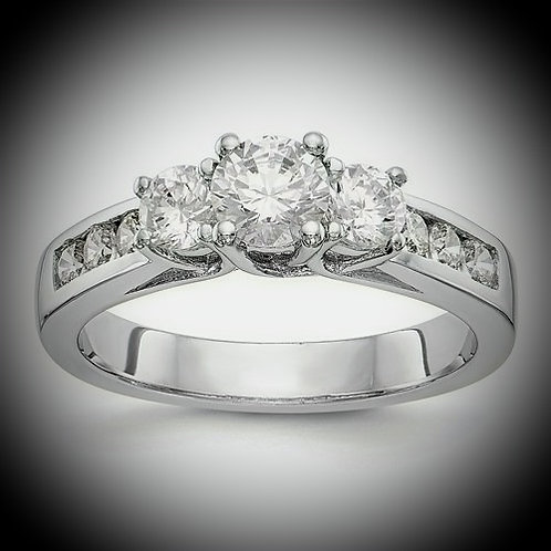 14KT White Gold 3-Stone Diamond Engagement Mounting