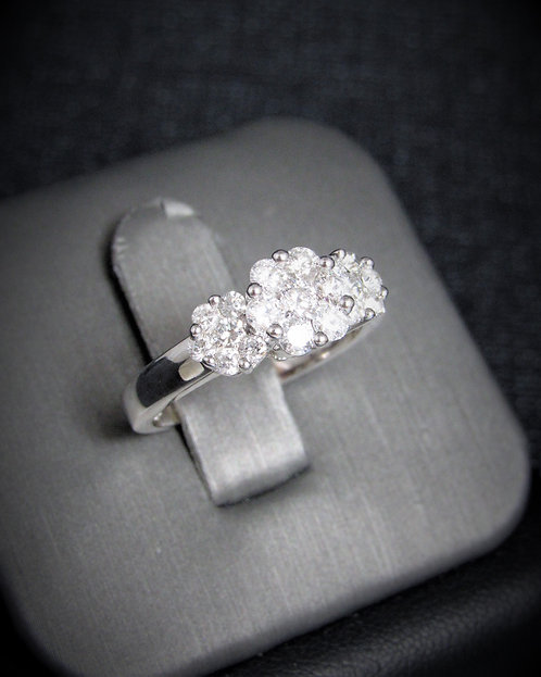 14KT White Gold Diamond Three-Clusters Style Engagement Ring