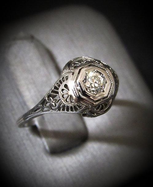 Art Deco 18KT White Gold Diamond Antique Engagement Ring