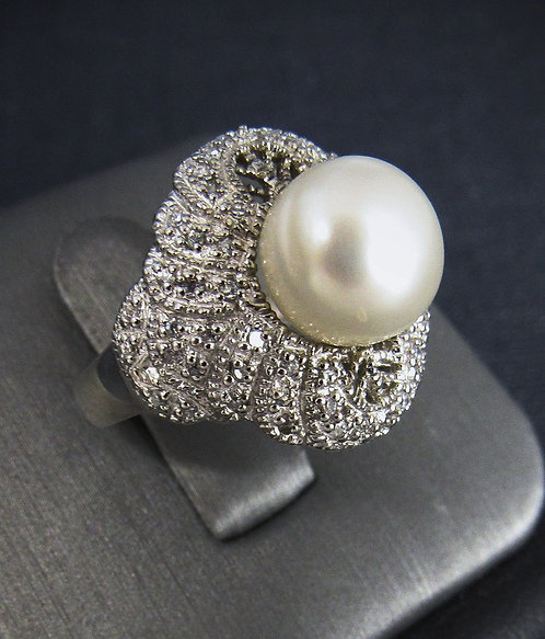 White Pearl  White Topaz Sterling Silver Ring
