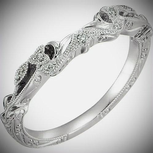 14K White .05 CTW Diamond Matching Band for 5.2mm, 5.8mm, & 6.5mm Round Ring Siz