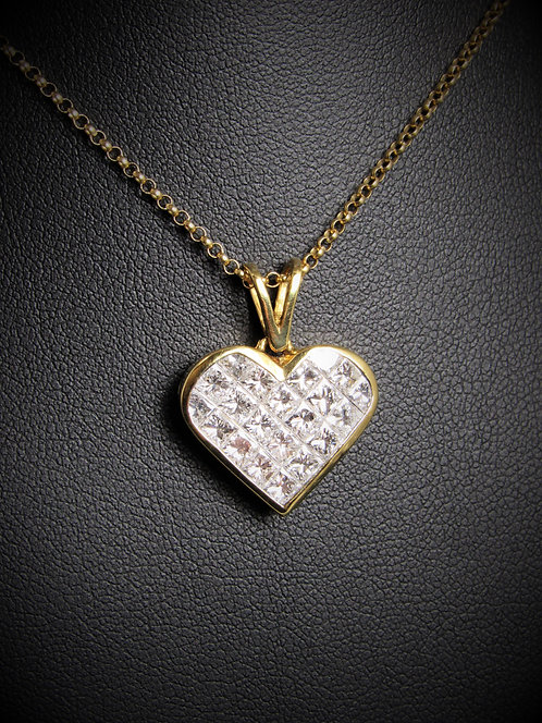 18KT Yellow Gold Diamond Invisible-Set Style Heart Pendant