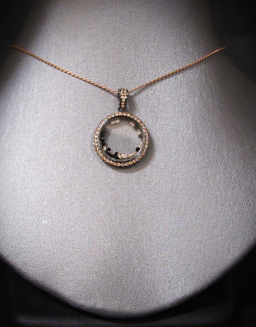 Floating Smoky & Black Topaz 14KT Rose Gold Plated Sterling Silver Necklace