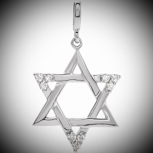 14KT White Gold Diamond Star Of David Pendant