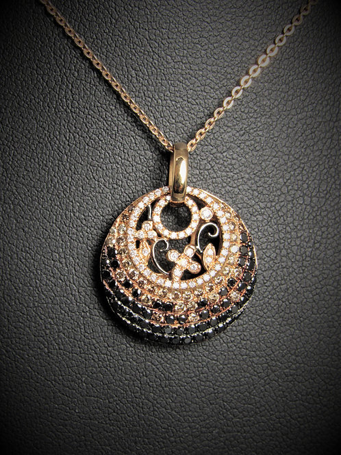 18KT Rose Gold White Champagne And Black Diamonds Pave Style Pendant