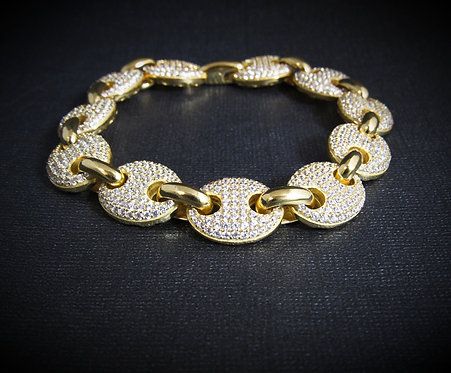 Cubic Zirconi 14KT Yellow Gold Plated Sterling Silver Link Bracelet
