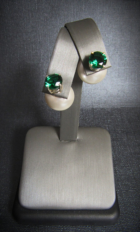 Tribales Pearl Studs With Emeralds Sterling Silver Earrings