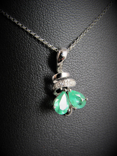 14KT White Gold Diamond And Emerald Pendant