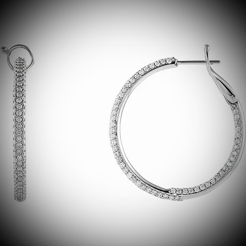 14KT White Gold Pave Style Diamond Hoops