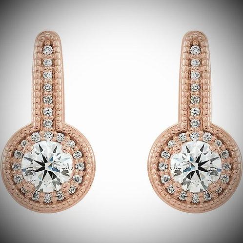 14KT Rose Gold Diamond Milgrain Halo-Style Earrings