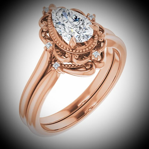 14Kt Rose 8x5 mm Pear Engagement Ring Mounting