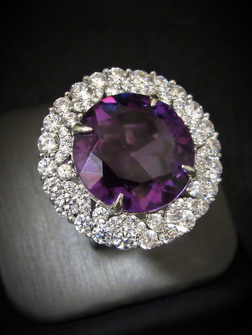 Large Round Amethyst & White Topaz 18KT Gold Plated Sterling Silver Ring
