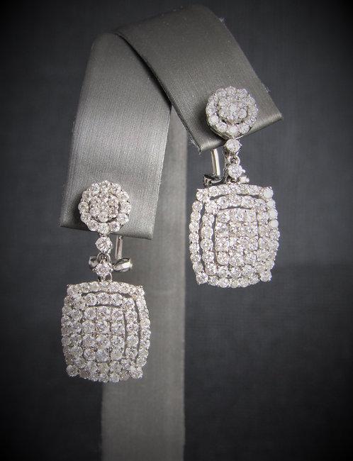 18KT White Gold Diamond Cluster Dangling Earrings