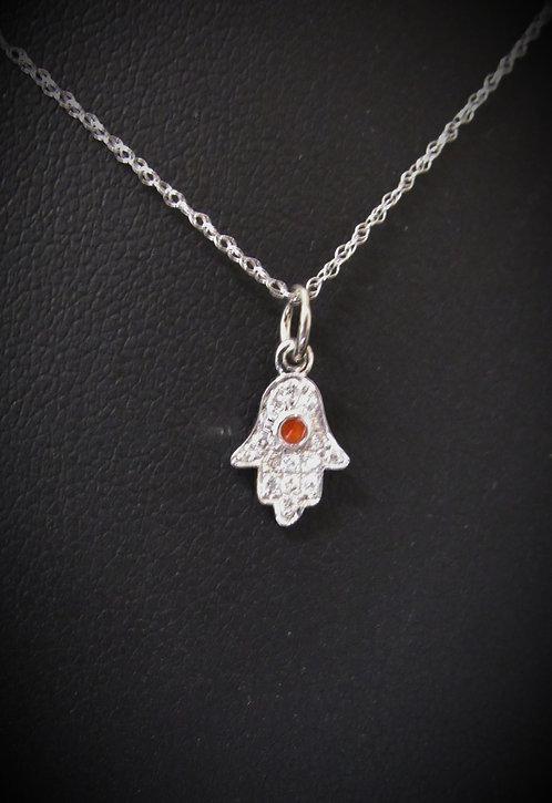 14KT White Gold Pavé Diamond Protective Hamsa Necklace