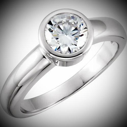 14K White Round Bezel-Set Engagement Ring Mounting